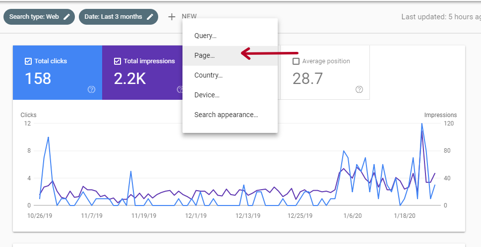 Narrowing the Results in Google Search Console
