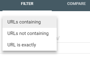 Selecing URLs containing in the Google Search Console