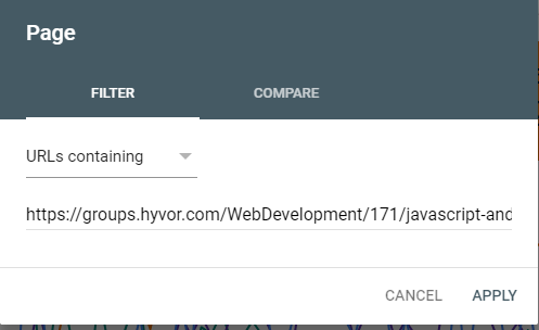 Adding a URL to narrow down the results