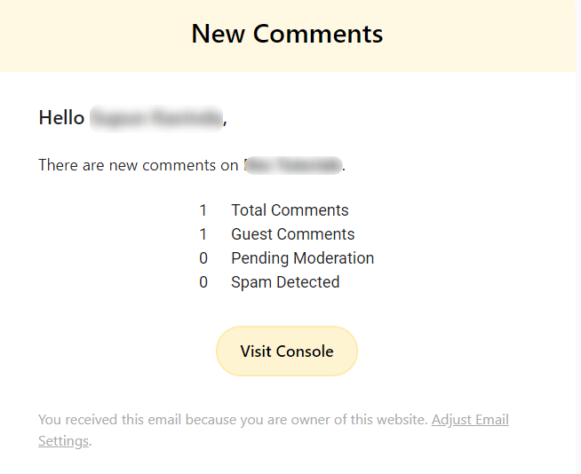 New Comments notification by WordPress commenting plugin