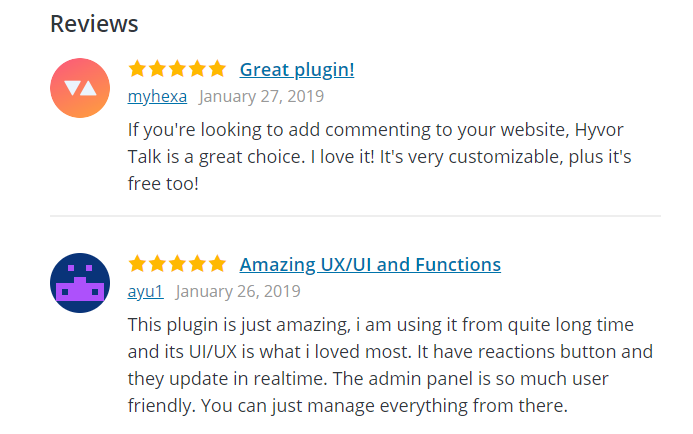 Reviews on WordPress plugins directory