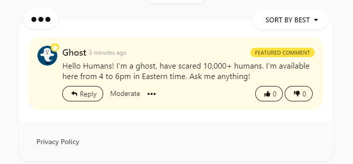Featured comment by the guest of AMA!