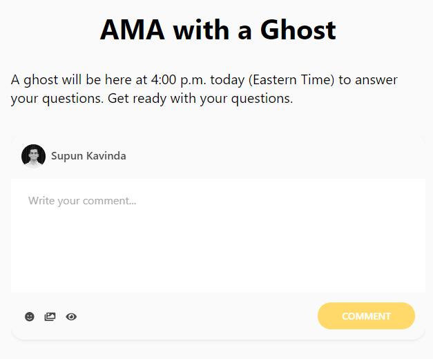 Example AMA (Ask me anything) with comments
