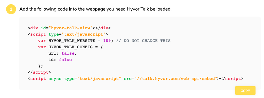 Hyvor Talk comments installation code