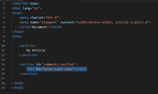 Add the div element to the webpage configuration