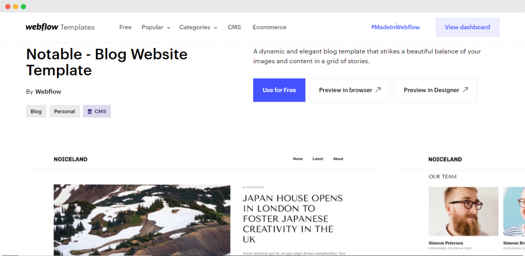 How to create a blog on webflow - Choose a free template