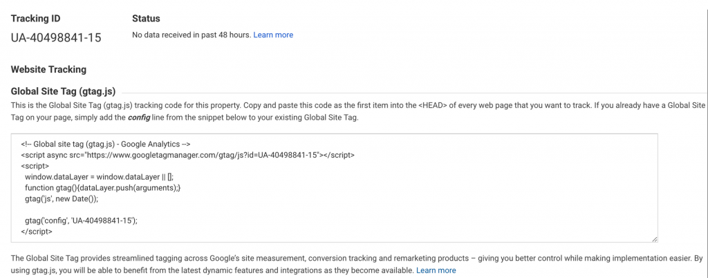 Google Analytics for Ghost Code Snippet