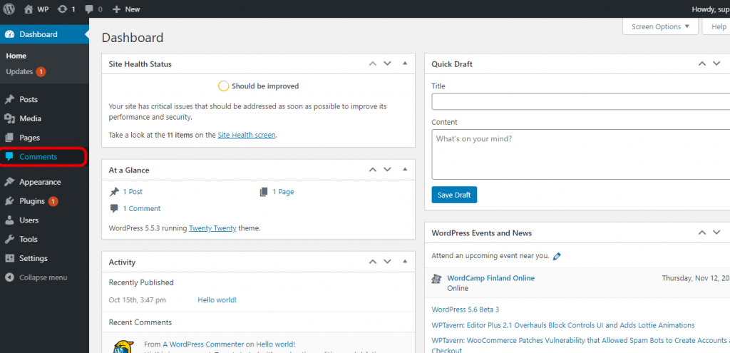 Going to comments section in the WordPress dashboard