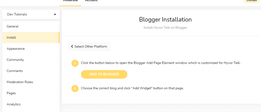 Blogger Installation