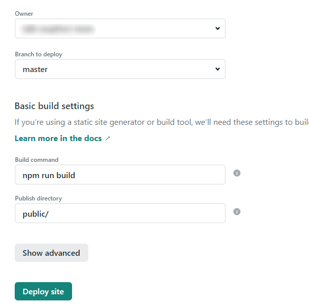 Netlify settings for a new site