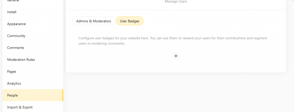 Configure/create user badges