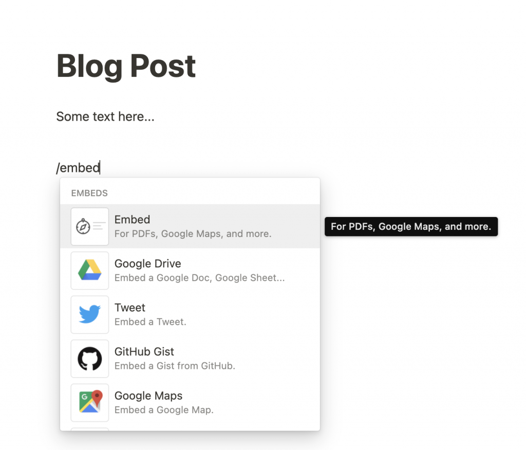 Adding an Embed to Notion