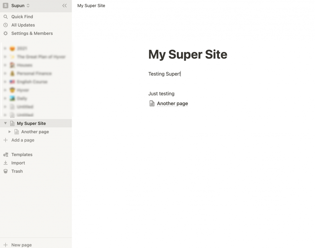 """""""My Super Site"""" Notion Page created in the Notion Workspace"""