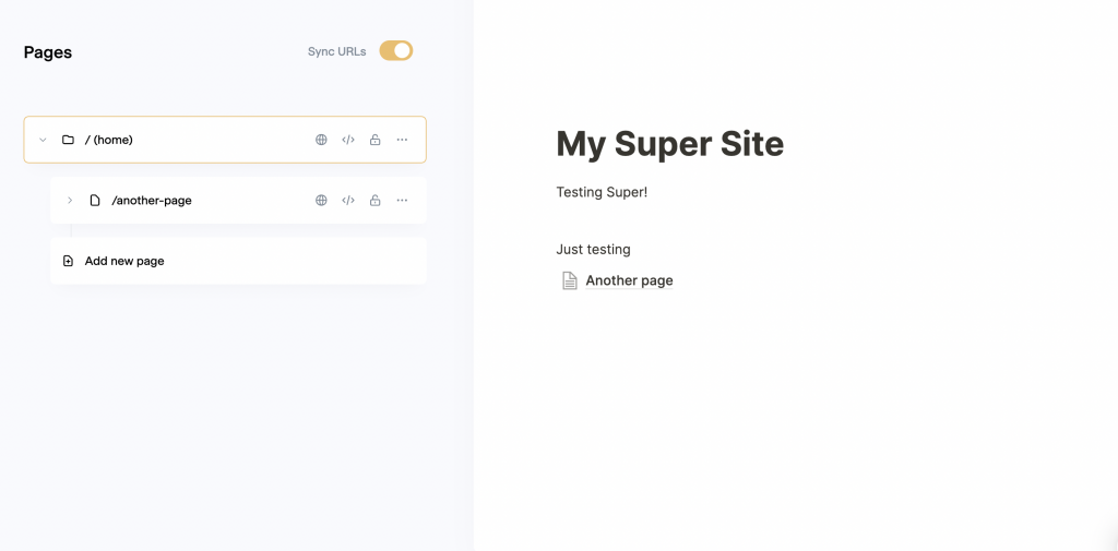 Super pages section